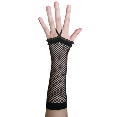 Black Fingerless Fishnet Gloves with Ruffle ~ Costume Party Accessory (STC12093)