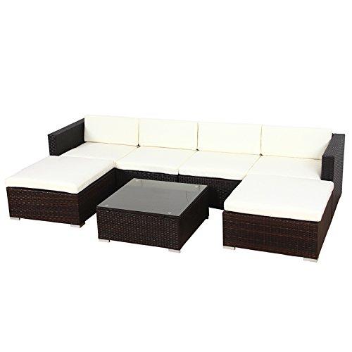 Poly Rattan Lounge Gartenset Schwarz Sofa Garnitur Polyrattan