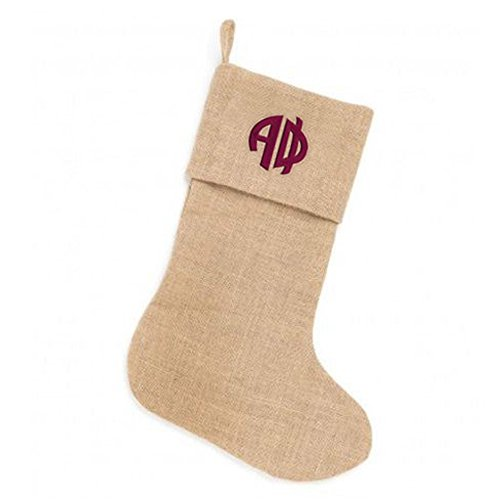 alpha-phi-circle-monogram-burlap-christmas-stocking-tan-w-maroon