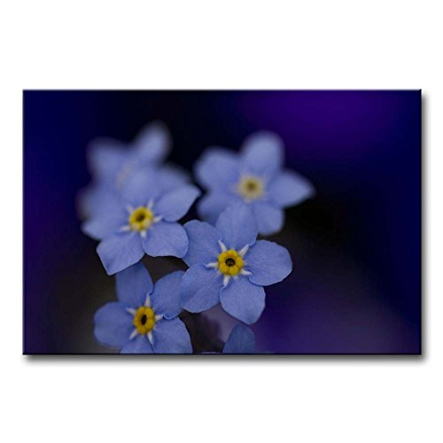 Purple Wall Art Painting Blue Forget-Me-Not With Yellow Stamen Pictures Prints On Canvas Flower The Picture Decor Oil For Home Modern Decoration Print For Bedroom