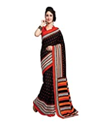 Inddus Exclusive Women Art Silk Black Printed Saree - B00NMDYICI
