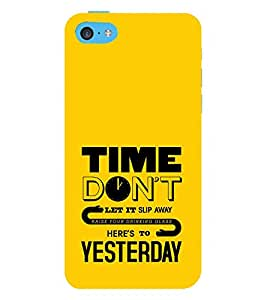 Time Don't Yesterday Glass 3D Hard Polycarbonate Designer Back Case Cover for Apple iPod Touch 6 (6th Generation)