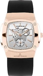 JACQUES LEMANS Serie Belfast 1-1476C - Reloj de caballero de cuarzo, correa de piel color negro