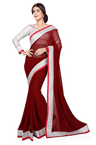 Sourbh Sarees Women's Maroon Faux Georgette Silver Lace Work Saree with Unstitched Blouse Piece