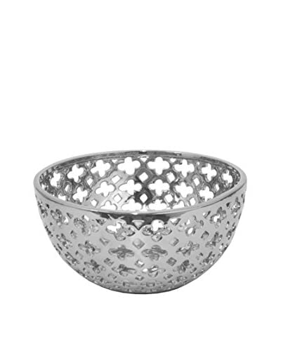 Three Hands Ceramic Bowl Pierced,  Silver
