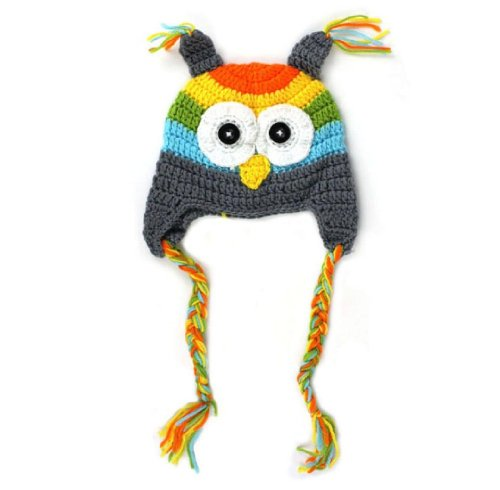 FuzzyGreen®Cute Pretty 0-18m Newborn Baby Infant Toddler Knit Crochet Photography Prop Costume Owl Hat Grey+Gift