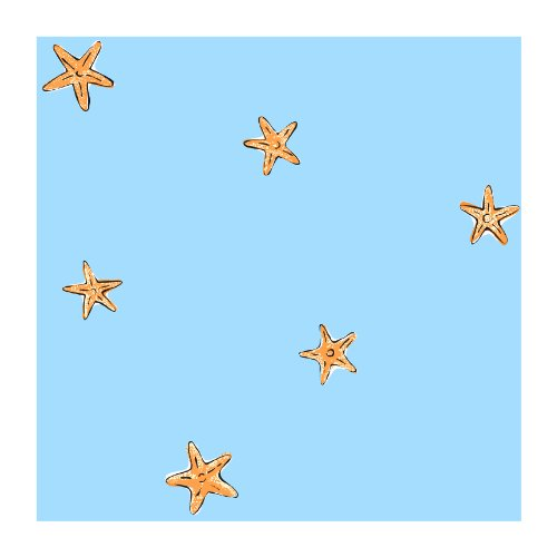 York Wallcoverings Ck7770Smp Candice Olson Kids Starfish Spot 8 X 10 Wallpaper Memo Sample, Bright Blue front-687795