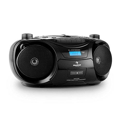 auna Groove Star radio portatile boombox (mangianastri per cassette, lettore CD, porta USB-5V, sintonizzatore radio FM, registratore cassette) - nero