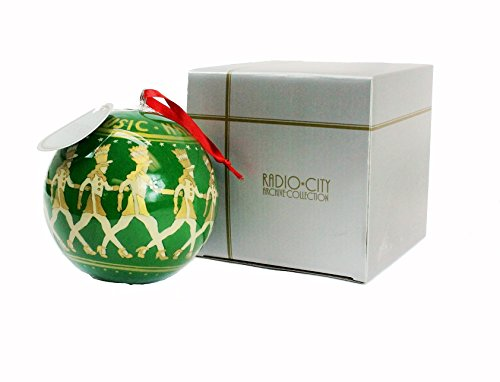 4 1/2″ Radio City Reverse Hand Painted Glass Ornament – Christmas Tree – Archive Collection