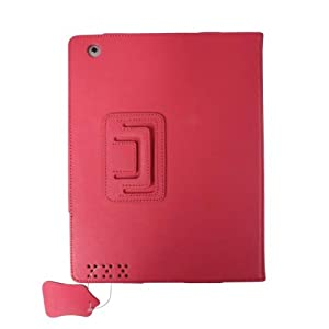 Ipad 2 Book Style Geniune Calfskin Reversal Folding Clampping Stand Folio Case Hot Pink