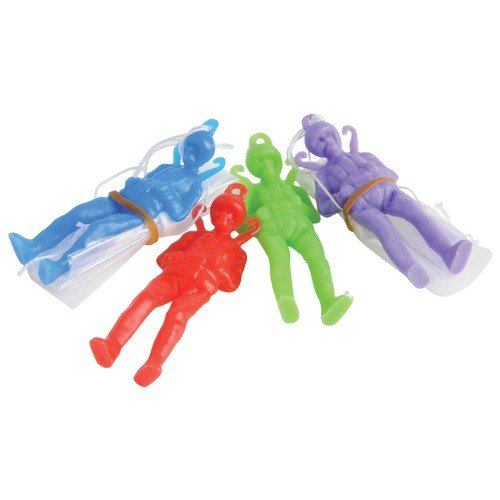 "Dozen Assorted Color Toy Paratrooper Parachute Men - 2.25"" - 1"