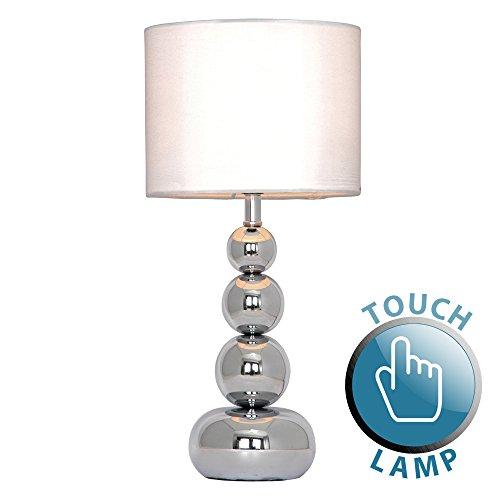 Touch-Me-Tischlampe-mit-verchromten-Kugeln-und-weiem-Lampenschirm-aus-SamtSeide