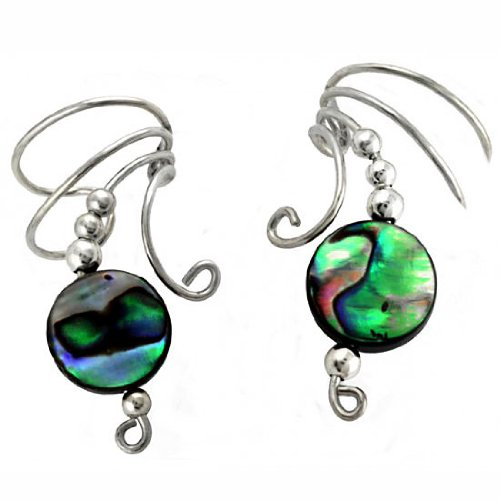 Sterling Silver Paua Abalone Shell Round Button Bead Wave Ear Cuff Wrap Set