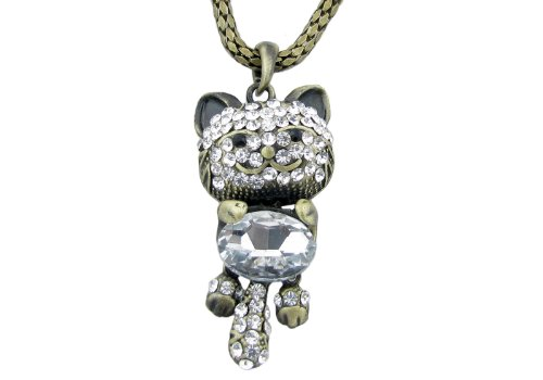 Antique Gold Tone Crystal Necklace Cat - 26