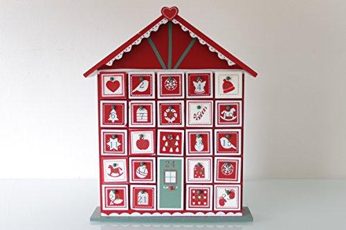 Adventskalender schmales und buntes Holzhaus 32cm zum Selbstbefüllen Weihnachten thumbnail