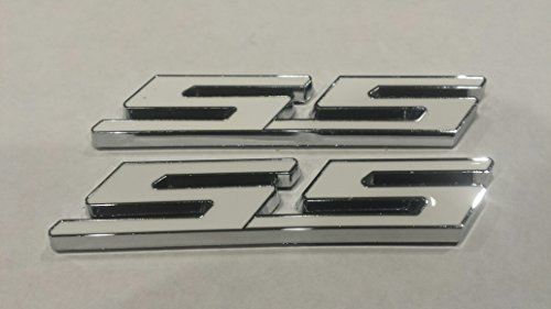 Muzzys (SET OF TWO) WHITE SS Chrome Super Sport Emblem Badge 3M Universal Stick On Sticker Trunk Fender Bumper Grill Grille (Chevelle Super Sport compare prices)