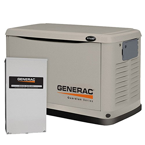 Generac 6438 10,000 Watt Air-Cooled Steel Enclosure Gas Powered Standby Generator With 200-Amp Smart Transfer Switch