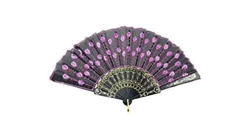 HAO Elegant Colorful Embroidered Flower Peacock Pattern Sequin Fabric Folding Handheld Hand Fan Hand-crafted (Pink) (Fan Folding compare prices)
