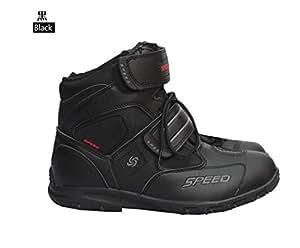 レーシングブーツ/プロテクショロードブーツ/バイク用ブーツ/ショートブーツ 防寒 強化防衛性 ライダーブーツ サイズ41 (25.5-26 cm約)ブラック