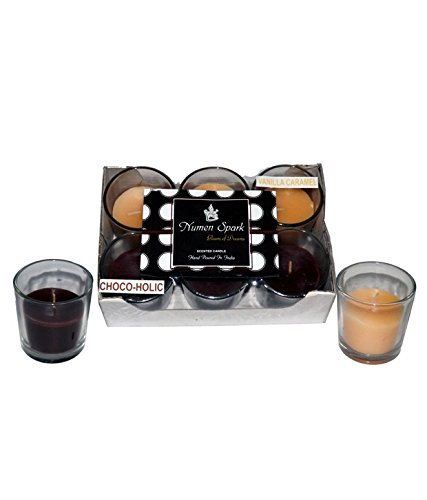 Numen Spark Chocoholic-vanilla Caramel Scented Votive Candle for decoration (pack Of 6, Beige and Brown)