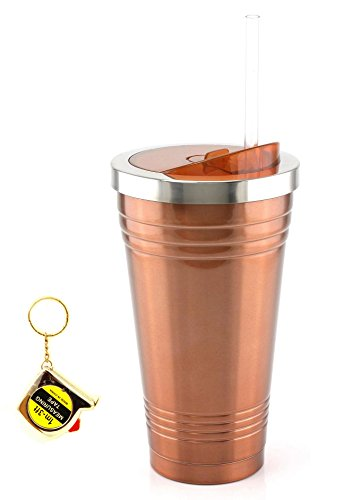 18 Ounce Stainless Steel Double Wall Tumbler With Tape Measure Key Chain (Bronze)