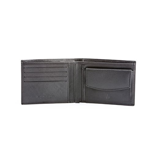 Portafoglio uomo in pelle slim sottile con portamonete porta carte di credito DV Nero