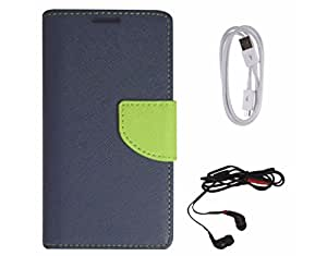 Avzax Diary Look Flip Wallet Case Cover For Samsung GALAXY S3 (Blue) + Data Cable + In Ear Headphone