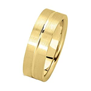 5.0 Millimeters Yellow Gold Wedding Band Ring in 18 Karat Gold, with Satin Brushed Finish and Bright