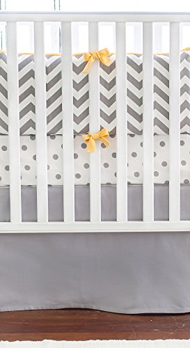 New Arrivals Crib Bed Set, Slate with Yellow Trim