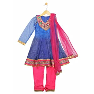 shimmer anarkali with dupatta, blue, 4-5y