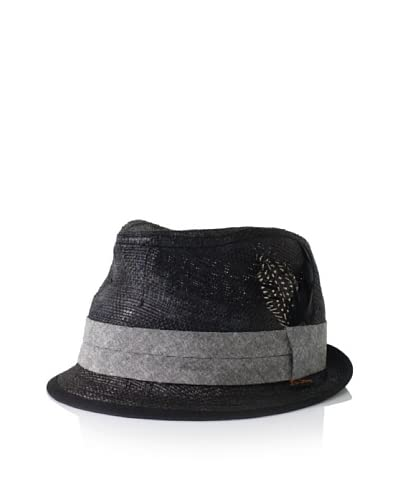 Ben Sherman Men's Solid Straw Trilby  [Black]