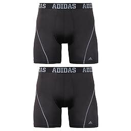 adidas Men's Sport Performance ClimaCool Boxer Brief (Pack of 2), Black/Thunder and Black/Thunder, Medium/Waist Size 32-34