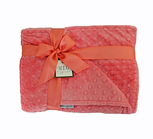 MEG Original Coral Minky Dot Baby Girl Crib/Nursery Blanket