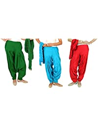 Rama Full Patiala Salwars With Dupattas Combo Of 3 ( Green,Blue,Red_Free Size)
