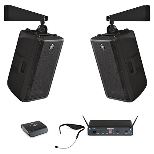 Yamaha DBR12 Powered Speaker Cabinet Bundle with Samson AirLine 88 Headset Wireless System and Accessories - Fitness Audio System (8 Items)