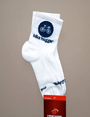 Bike Hugger Socks Gray & White High Cut (Large)