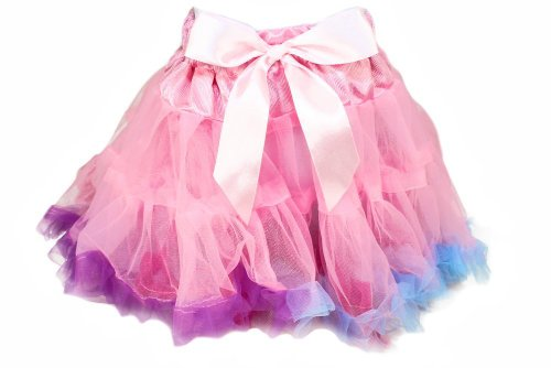 Girls Pastel Pettiskirt With Rainbow Ruffles. Large (8-10) front-953749