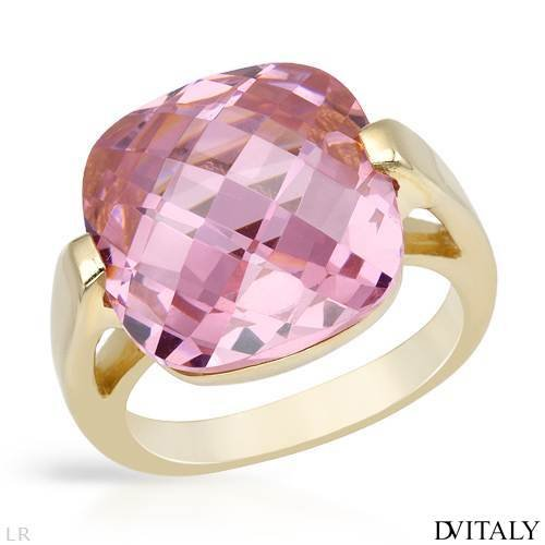 DV ITALY Stylish Cocktail Ring With 19.80ctw Cubic zirconia Made in 14K/925 Gold plated Silver. Total item weight 8.9g (Size 7.5)