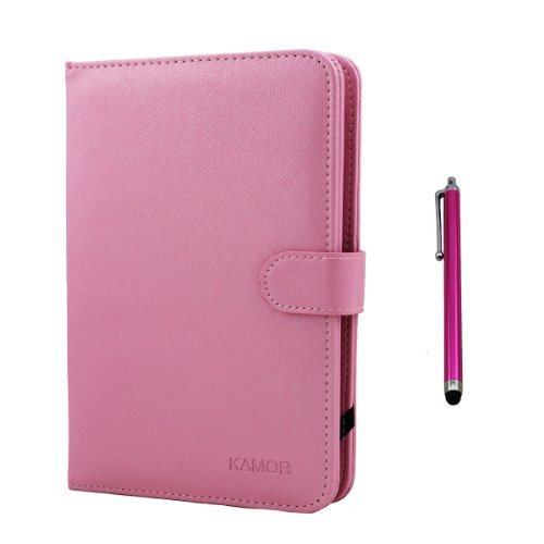 "Kamor® 7"" Pu Leather Stand Case + Micro Usb Keyboard With Touch Screen Stylus Pen For 7 Inch Android Tablet Pc + Micro Female To Mini Male Adapter (Pink)"