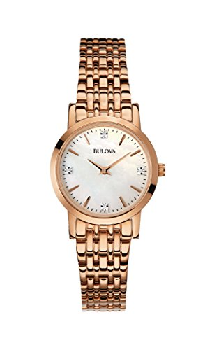 Bulova Diamond Women's Quartz Watch with Mother of Pearl Dial Analogue Display and Rose Gold Ion-Plated Bracelet 97P106