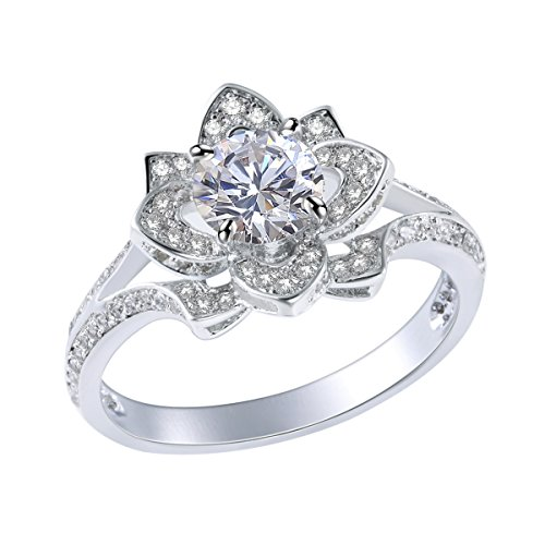 Newshe Jewellery 2.24CT Round White CZ 925 Solid Sterling Silver Flower Wedding Engagement Ring Size 7 (Cz Flower Ring compare prices)