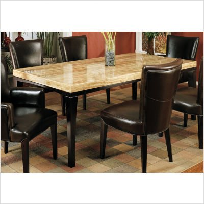 M22 Chocolate Travertine Rectangular Dining Table in Espresso