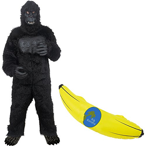 Gorilla Adult Costume with Inflatable Banana