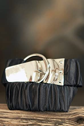 """Women's Leather Stretch Belt with Silver Buckle, BLACK, Size XLARGE (36""""-40"""")"""