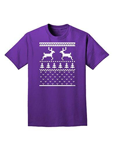 Ugly Christmas Sweater Reindeer Pattern Adult Dark T-Shirt - Purple - 4Xl