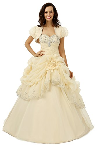 Datangep Women\'s Sweetheart Beaded Empire Debutante Ball Gown with ...