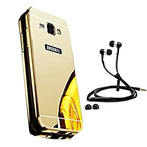 Droit Luxury Metal Bumper + Acrylic Mirror Back Cover Case For + Samsung G530 Stylish Zipper Handfree and Good QualitySound by Droit Store.