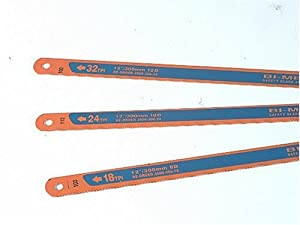 Bahco 12-Inch 3906-300-3P Sand Flex Bi Metal Hand Hacksaw Blade, 3-Pack