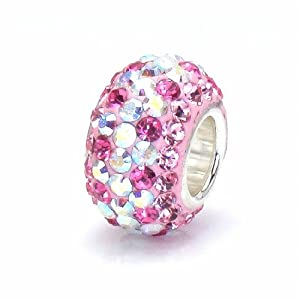 Bella Fascini Pink Raspberry & AB Zig Zag Crystal Pave Sparkle Bling - Solid .925 Sterling Silver Core European Charm Bead Made with Authentic Swarovski Crystals - Compatible Brand Bracelets : Authentic Pandora, Chamilia, Moress, Troll, Ohm, Zable, Biagi, Kay's Charmed Memories, Kohl's, Persona & more!