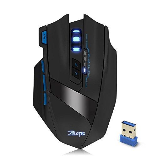 Zelotes F 15 2.4G Wireless Portable Mobile Maus Optische Maus mit USB-Empfänger, 4 einstellbare DPI-Stufen, 9 Tasten für Notebook, PC, Computer, Laptop, Mac, – Schwarz